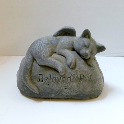 Anchor Floral Garden and Gravesite Memorial Stones Sleeping Angel Cat Statue