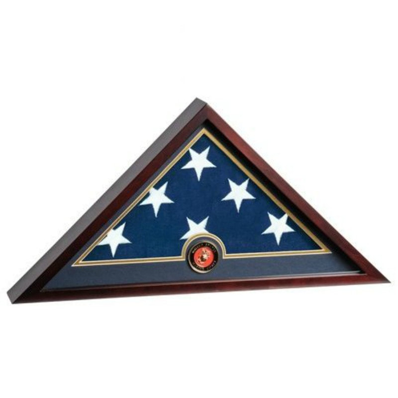 Anchor Floral United States Marine Corps Official Seal Memorial Military Honor Flag Case PRICE $75.00